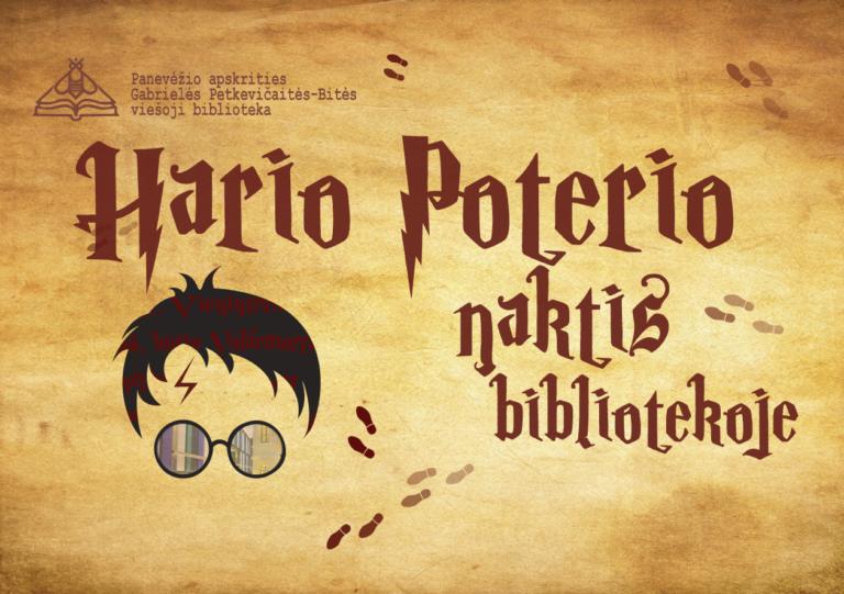 Hario Patorerio nakties bibliotekoje plakatas