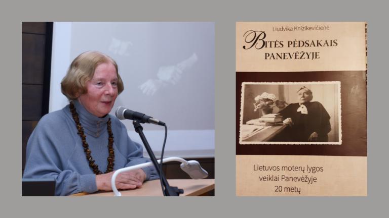 Liudvika Knizikevičienė ir jos knygos ,,Bitės pėdsakais Panevėžyje'' viršelis