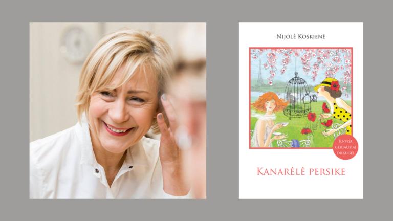 """Nijolė Koskienė ir jos knygos """"Kanarėlė persike"""" viršelis"""