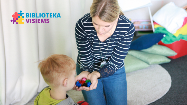 "A picture is showing a woman giving her child a toy. A logotype ""Library is for everyone"" is placed on the upper left corner of the picture."