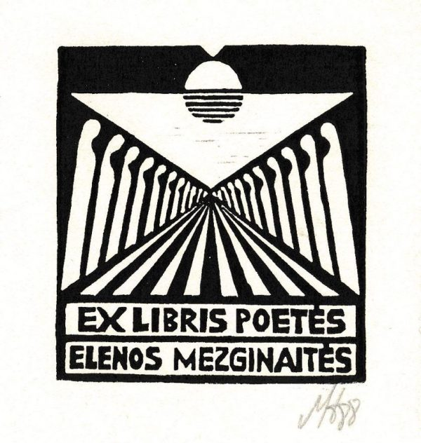 H. Mazūro ekslibrisas Elenai Mezginaitei, 1988 m.
