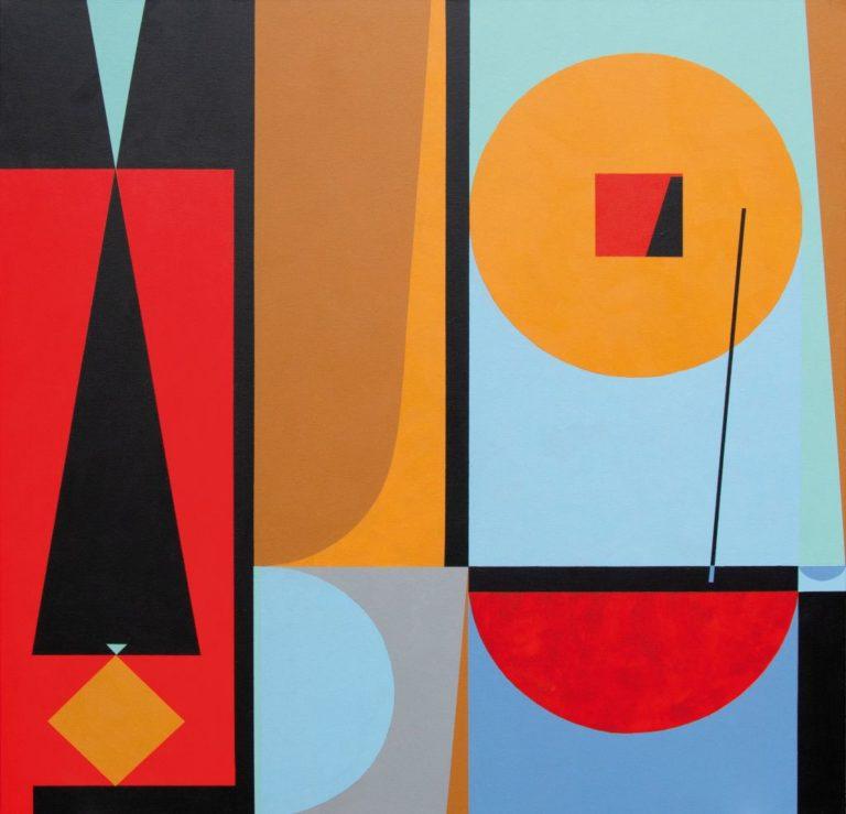 Tomo Rudoko tapybos darbas – spalvotos geometrinės figūros